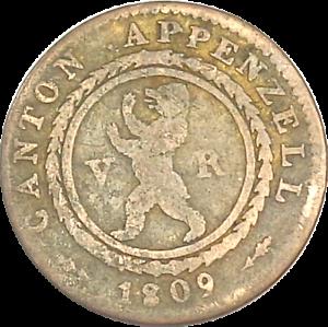 1809-Switzerland-Canton-Appenzell-1-2-Batzen-5-Rappen-Billon-KM-5