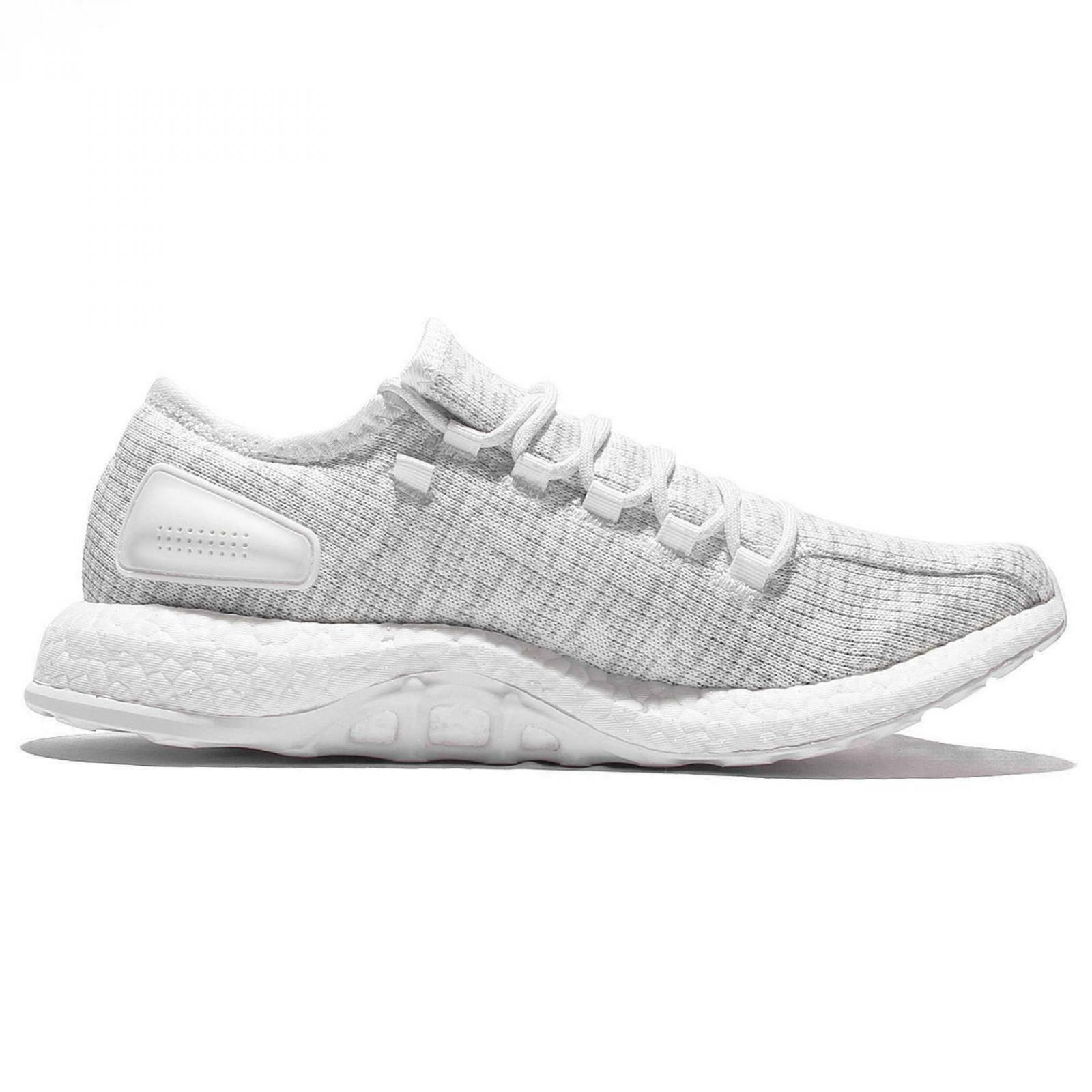 hommes ADIDAS PUREBOOST blanc Gris Running Trainers BA8893