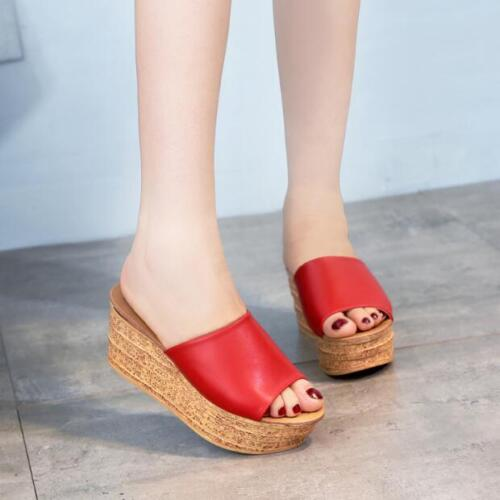 Womens Open Toe Platform Wedge Heel Slippers Sandal Faux Leather Casual Shoes US