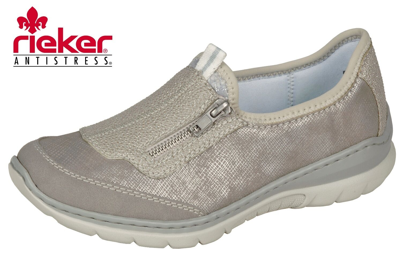 Rieker Damen Sommer Schuhe Sneaker Slipper Taupe Silber Leder Optik L3259-40 NEU