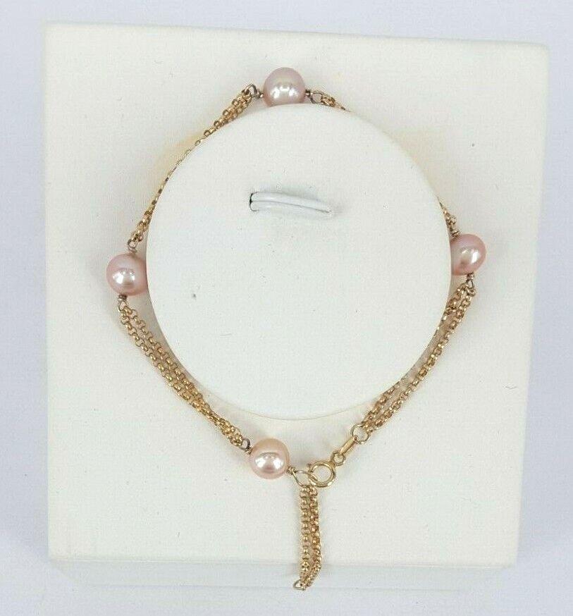 Miran 170525 9K gold Bracelet 4 Pink Fresh Water Pearls 17.5cm to 21cm RRP  449