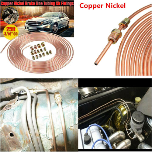 """Copper Nickel Car Brake Line Tubing Kit 3//16/"""" OD 25 Ft Coil Rolls With Fittings"""