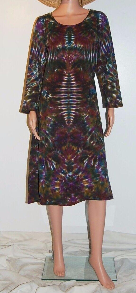 Woherren TIE DYE Long Sleeve Dress Phoenix Blotter art hippie sm med lg xl 2X 3X