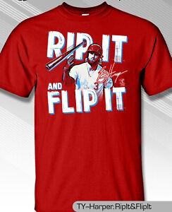 Philadelphia-Phillies-MLBPA-BRYCE-HARPER-3-Rip-Flip-Youth-Boys-Tee-Shirt-Red