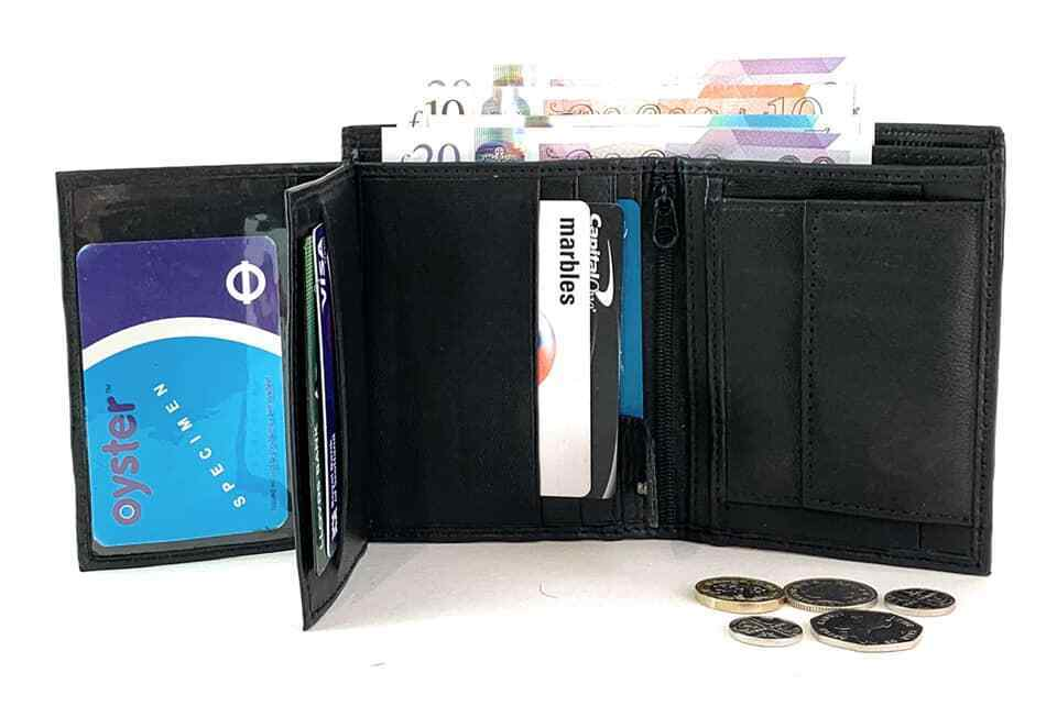 Mens Real Leather Wallet Credit Card Holder Coin Purse Black Slim Wallet ID 109D