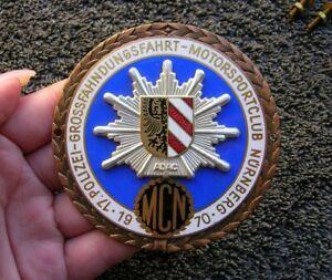 nurnberg adac police car badge porsche 911 mercedes mb vw bmw germany 1970 ebay. Black Bedroom Furniture Sets. Home Design Ideas