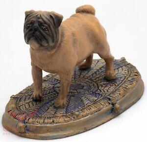 Solid Brass Amber Figurine of Pug dog IronWork