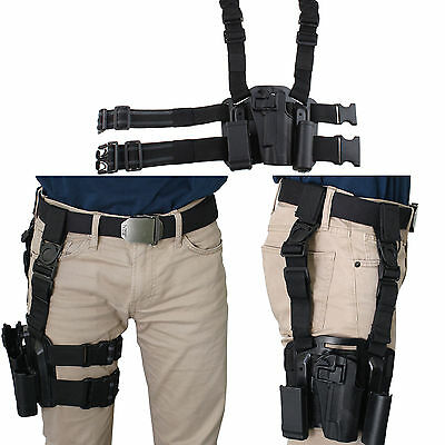 AGPtek Right Hand Tactical Drop Leg Holster Tactical Belt for Colt 1911 Black