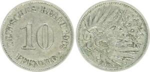 Kaiserreich 10 Pfennig J.13 1908 A 90°Stempeldrehung n.l. Fehlprägung,ss-vz