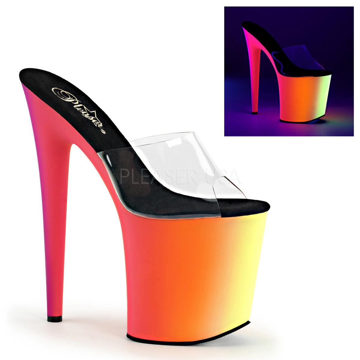 PLEASER Sexy Neon UV Rainbow Platform 8  High Heel Stripper Slip On shoes Slide