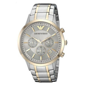 100-New-Emporio-Armani-AR11076-Renato-Silver-Dial-Stainless-Steel-Men-039-s-Watch