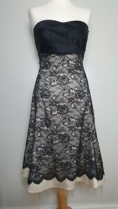 WAREHOUSE-UK-Size-12-Black-amp-Nude-Lace-Dress-with-Satin-Bow-at-Waist-A-Line