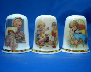 Birchcroft-China-Thimbles-Set-of-Three-Attwell-Sewing-Girls