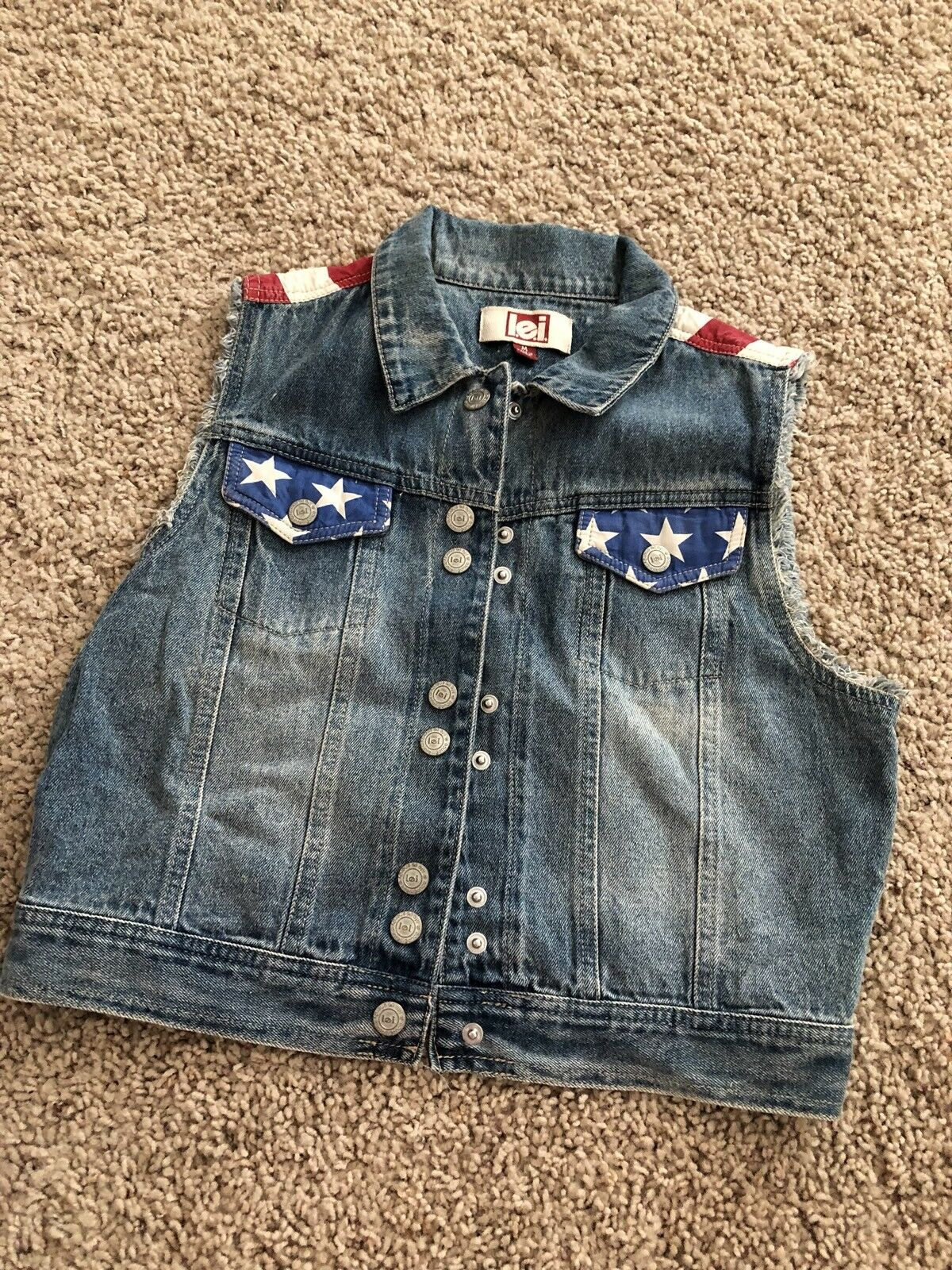 Semi Vtg LEI Flag Denim Vest Red White bluee bluee bluee 4th Of July Junior size M Patriotic 8d9fe6