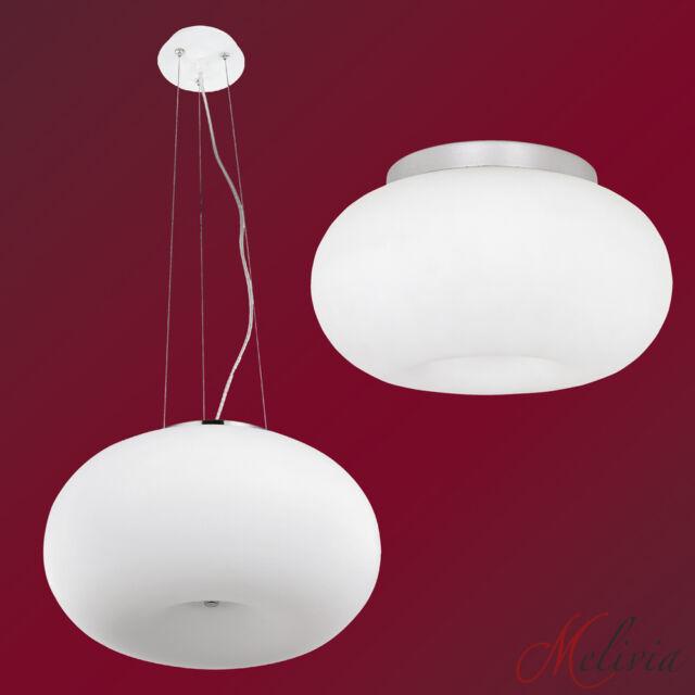 Luminaire suspendu PLAFONNIER BLANC CHROME opale- verre lampe à suspension rond