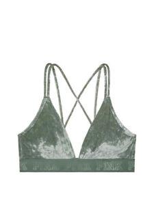 e1610c20261492 Image is loading VS-PINK-Velvet-Triangle-Bralette-Size-M-Green