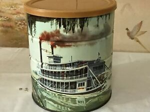 STEAM-BOATS-A-COMIN-VERY-OLD-VINTAGE-ANITQUE-COFFEE-CAN-CANISTER-KITCHEN-COOKIE