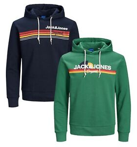 JACK-amp-JONES-Original-Mens-Logo-Overhead-Hoodie-Sporty-Hooded-Sweatshirt-Top