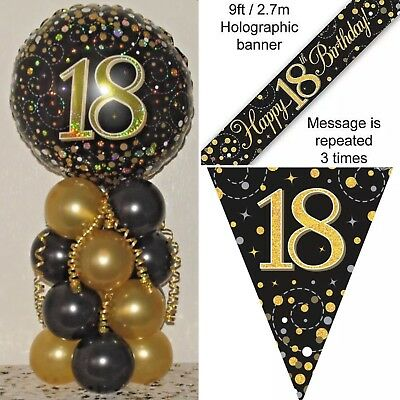 TABLE CENTREPIECE DECORATION AGE 18th BIRTHDAY FOIL BALLOON DISPLAY BANNER