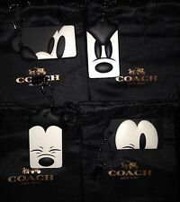 Disney x Coach Mickey Mouse Hang Tag Set of 4 Fob Charms Keychains Leather NEW
