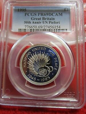 1995 Great Britain 2 Pounds 1 oz Silver PCGS PR69DCAM pf  50th Anniv. UN Piefort