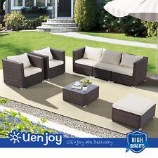 2PCS Rattan Furniture Set Sofa Garden Outdoor Backyard Patio Wicker Brown
