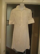 Juicy Couture White Bib Henley Nurse Tuxedo Shirt Dress Sz 6 S PreOwned