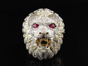 2-25Ct-Round-Cut-Diamond-3D-Lion-Face-Pinky-Mens-Ring14K-Yellow-Gold-Finish