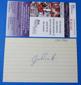 JOSE-PENA-SIGNED-3x5-INDEX-CARD-1969-72-REDS-amp-DODGERS-JSA-R85345-RARE