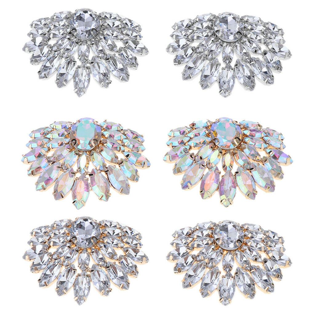2 Pieces Elegant Rhinestone Metal Shoe Clips Buckle for Wedding Party Prom