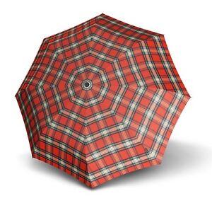 Knirps Smart Casual Line Minimatic Light Taschenschirm Regenschirm Red Rot Check Noch Nicht VulgäR Schirme