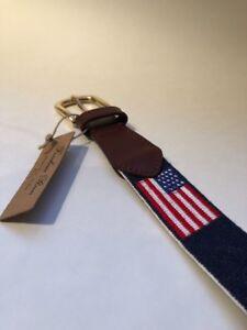 Image is loading FOXCHASE-RUN-HANDMADE-NEEDLEPOINT-BELT-USA-AMERICAN-FLAG- 68a590854c