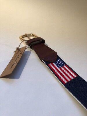 FOXCHASE RUN HANDMADE NEEDLEPOINT BELT USA AMERICAN FLAG STITCHED NAVY BLUE 34