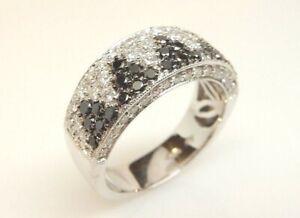 Women-039-s-18K-White-Gold-1-54-Ct-T-W-Black-amp-White-Diamond-Band-Ring-7-9-Grams