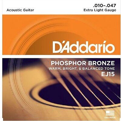 2 Sets D'Addario EJ-15 Phosphor Bronze x Light Acoustic Guitar Strings 10-47