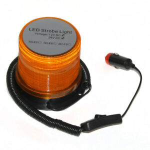 Trattore Auto 12V 24V Led Ambra Faro Magnetico Bullone Lampeggiante Tetto