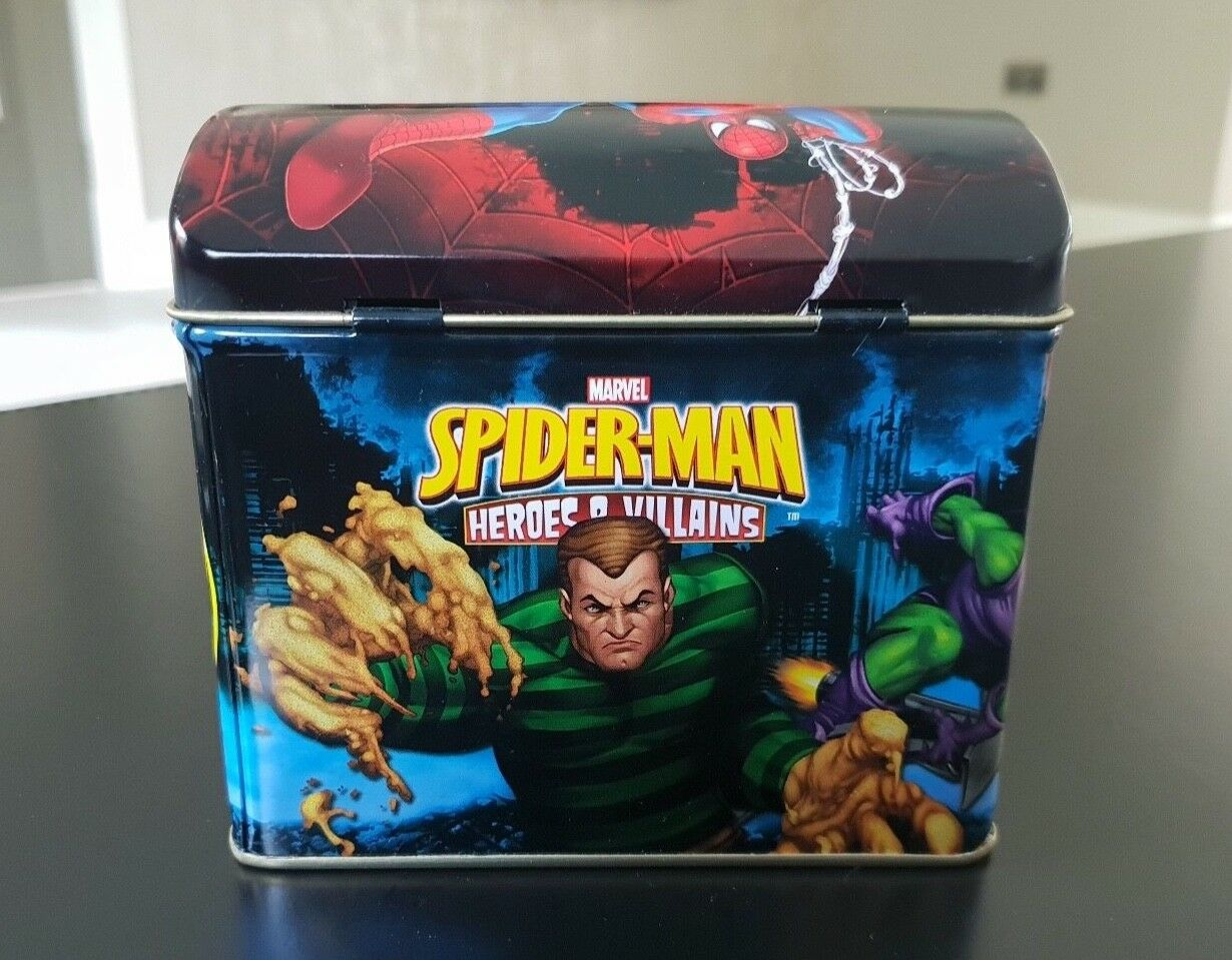 Spiderman Heroes & Villains Collectable Tin with 76 Cards (excellent condition)