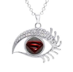 16mm-SuperHero-Superman-Stamp-Glass-Noosa-Snap-Crystal-Evil-Eyes-Shaped-Necklace