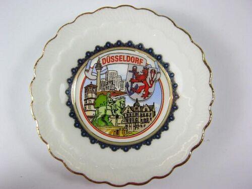 Düsseldorf Teller Porzellan,8 cm vergoldet,Wappen,Stadtansicht,Souvenir,NEU