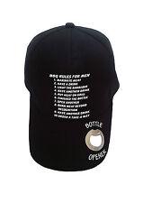 Novelty baseball cap with bottle opener in peak. Showing BBQ Rules for Men.