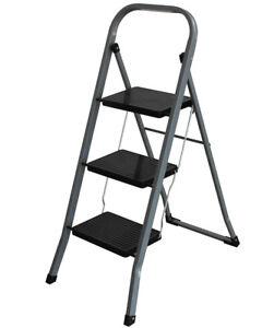 Stahl-Klapptritt-3-stufig-bis-150kg-Haushaltsleiter-Metall-Trittleiter-Leiter