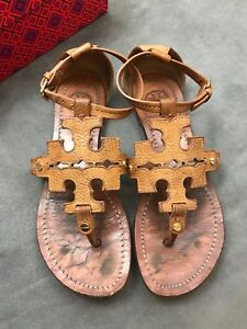 35102c9b2e21 TORY BURCH Phoebe Chandler Flat Thong Sandals Royal Tan Sz 6 Miller ...