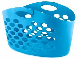 Flexible Oval Plastic Laundry Bin Washing Basket Clothes