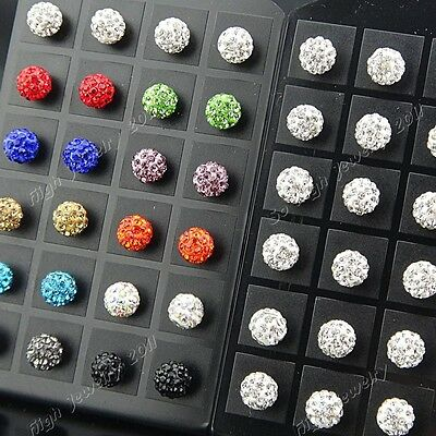 New 48pcs Stainless steel 10m Mix Shamballa Crystal Disco Ball Stud Earrings