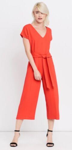 Oasis V Neck Wide Leg Jumpsuit Orange Red Sizes 12 14 BNWT