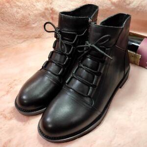 Winter weiche Lace Ankle Schuhe Damenmode Boots Flat Leder Comfort Damen Up 04YBnqS