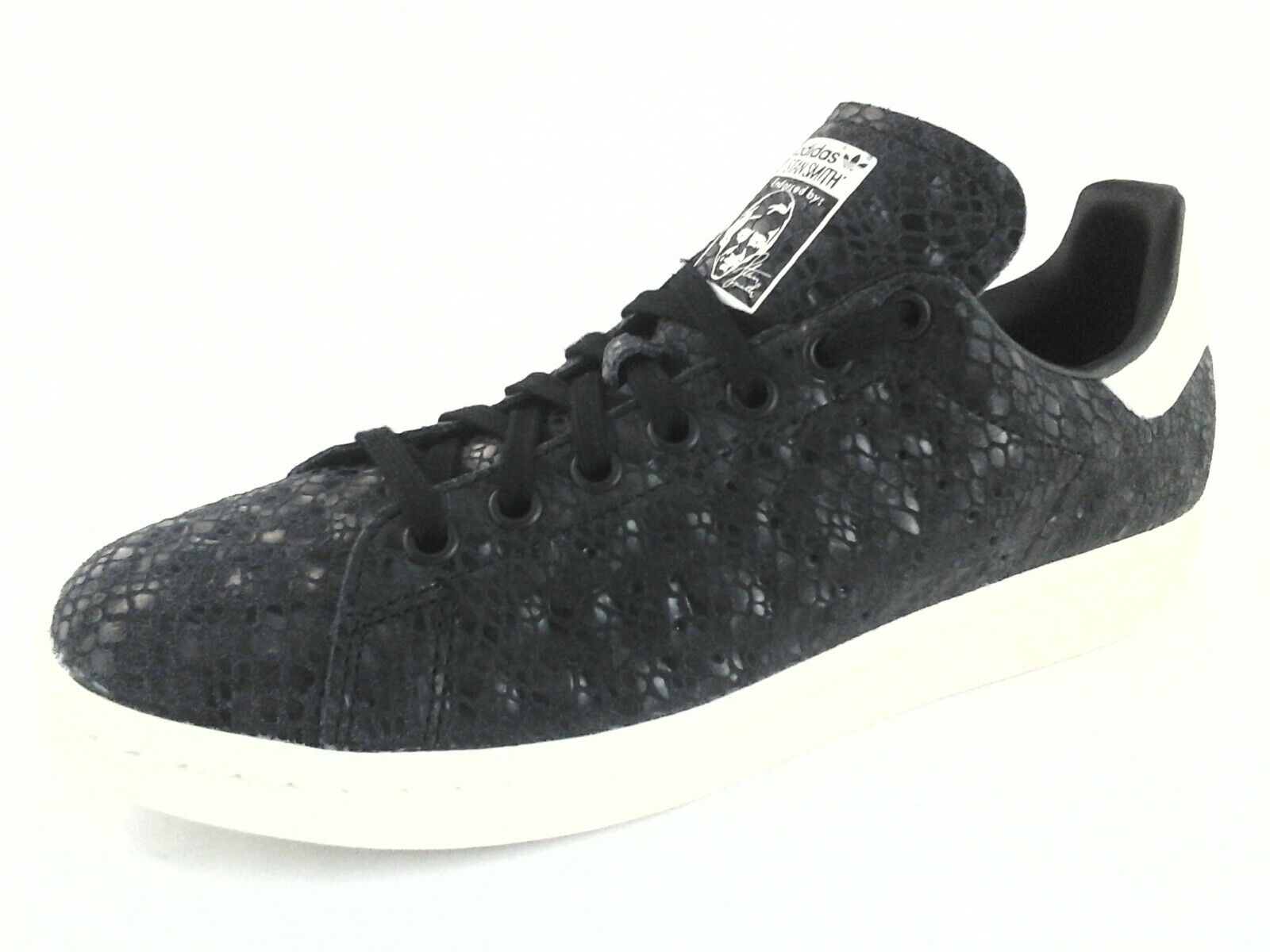 Adidas Stan Smith Womens Shoes S77344 Black Snake Emb. Leather US 8.5 /3