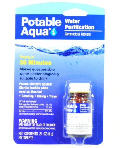 50 Comprimés Bouteille Camp//Randonnée Potable Aqua iode Germicide purification de l/'eau