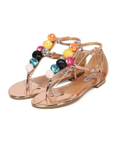 New Women Cape Robbin Leela-3 Metallic PU T-Strap Sequinned Ornament Sandal