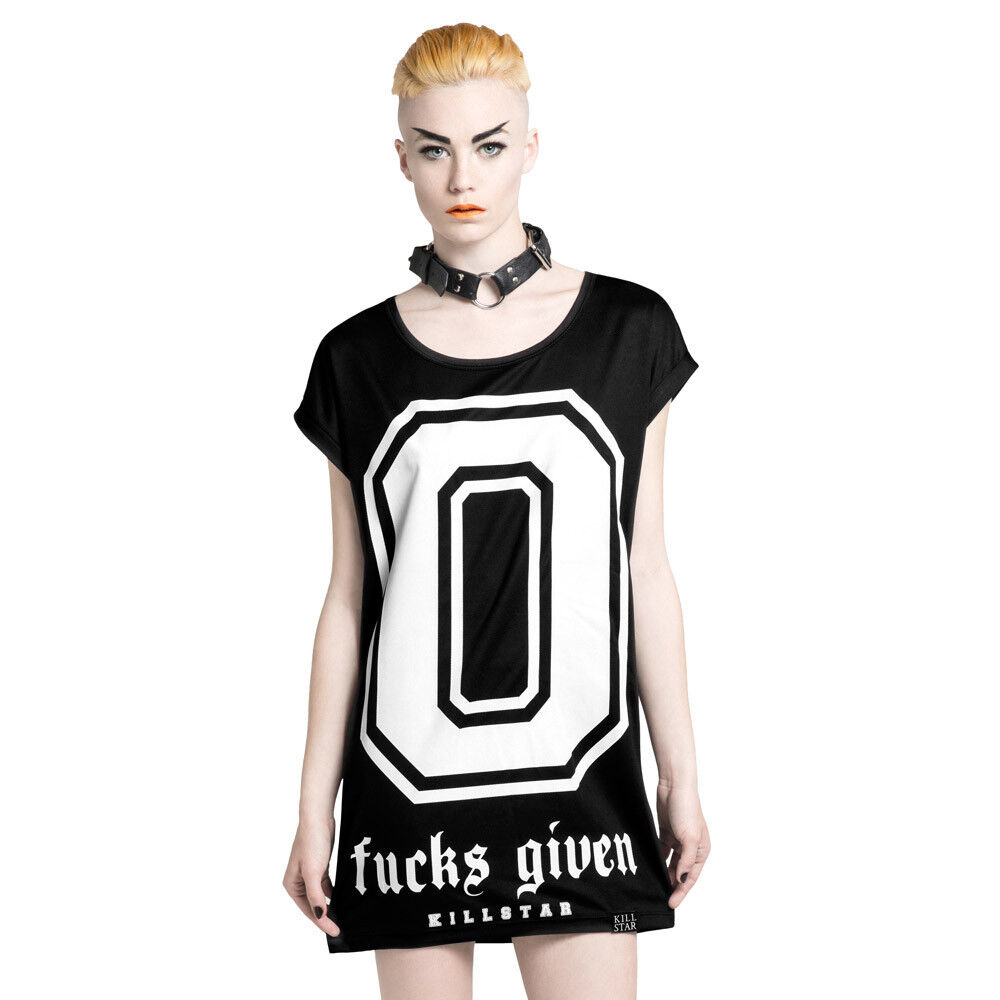 Killstar Goth Gothic Punk Okkult Tunika T-Shirt Kleid Minikleid - Zero Fucks